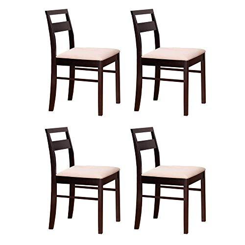 Pack 4 sillas salón Comedor Madera Maciza Color wengué tapizadas Estilo Moderno Mueble 45x43x83 cm