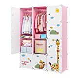 Aeitc Kids Wardrobe Baby Dresser Children Bedroom Armoire Clothes Hanging Closet with Animal Stickers, Pink, 12 Cubes