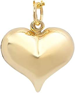 Pori Jewelers 14K Solid Yellow Gold Heart Charm Pendants- Multiple Styles Available