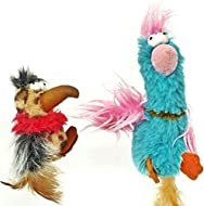 Mishi 2 x Cat Toys with CATNIP 2 Pack Dippy Dodos - Birds With Fluffy Tails - Interactive Pet Chew T...