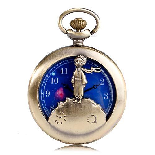 Piccolo Principe design orologio da tasca al quarzo Orologio da tasca per uomo blu Planet quadrante orologio da tasca collana regalo