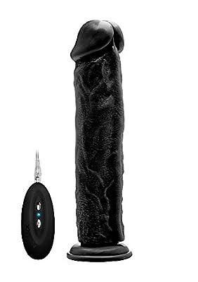 RealRock Vibrating Realistic Cock, Black, 11 Inch