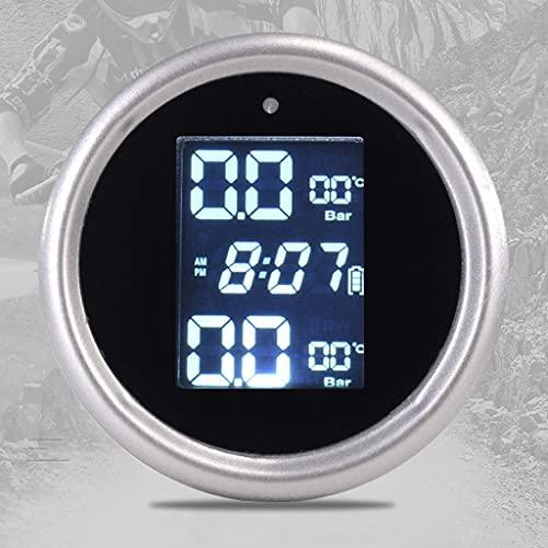 XJJZS Solar TPMS Alarma Motocicleta LCD Pantalla Digital Monitor de presión de neumático Detector eléctrico de Alta precisión con sensores externos