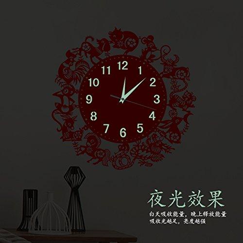 Komo Sweep Wandklok met stil uurwerk, creatieve slaapkamer, woonkamer, modern uurwerk, kwarts, 16 inch, groot nachtlampje