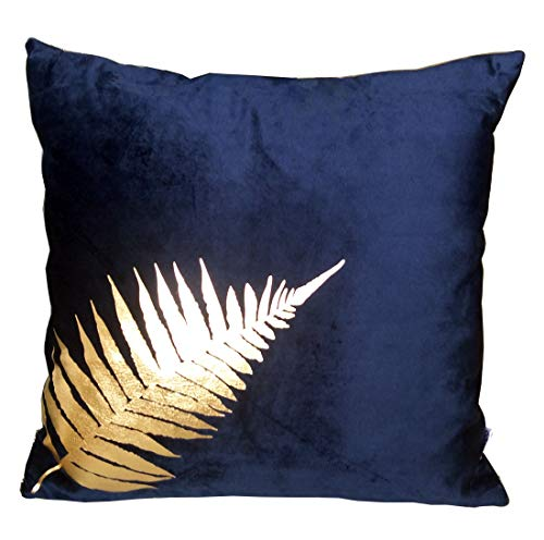 "ZUODU 45x45cm Blue Velvet Cushion Cover 45 x 45 Cm Navy Peach Skin-Like Decorative Pillow Cover Cushion Cover 18x18"" Free Combination (golden Leave-Navy)"