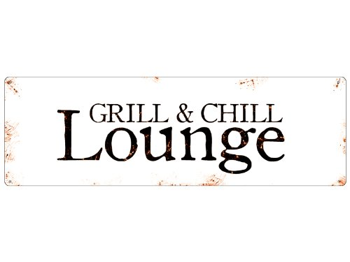 Interluxe Retro METALLSCHILD Blechschild Türschild Grill & CHILL Lounge Terrasse Balkon