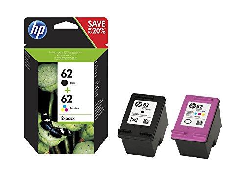 HP 62 - Pack de ahorro de 2 cartuchos de tinta Original HP 62 Negro, Tricolor para HP OfficeJet 5740 HP ENVY 5540, 5640, 7640