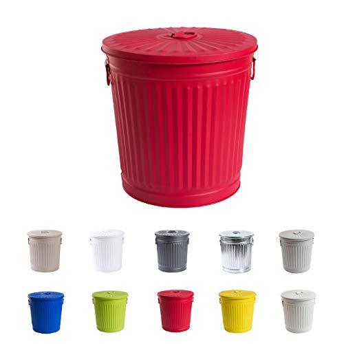 Abfalleimer Mülleimer Vintage Wäschebehälter Deckeleimer Mülltonne mit Tragegriffen (Ø 21,5 cm, Höhe 21,5 cm, Rot)