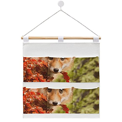 Wall Hanging cotton linen storage bag,Animal Baby Animal Cub Cute Fall Fox Stare Storage Bags On The Door and Closet, Hanging Organizer Storage Bags For Bedrooms Bathrooms 7 Pocket