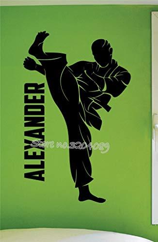 mlpnko Personalisierte Junge Kampfkunst Karate Wandtattoos benutzerdefinierte Kinder Name Vinyl Sport Wandaufkleber Dekoration 75x122cm