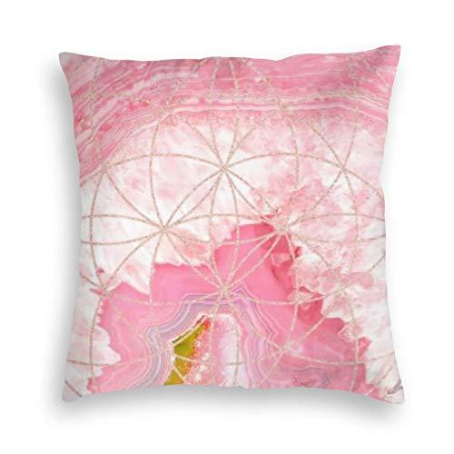 Fundas de cojín de terciopelo geométrico de color rosa con rosa dorado con funda de almohada cuadrada para sofá, dormitorio, coche, con cremallera invisible, 45,7 x 45,7 cm