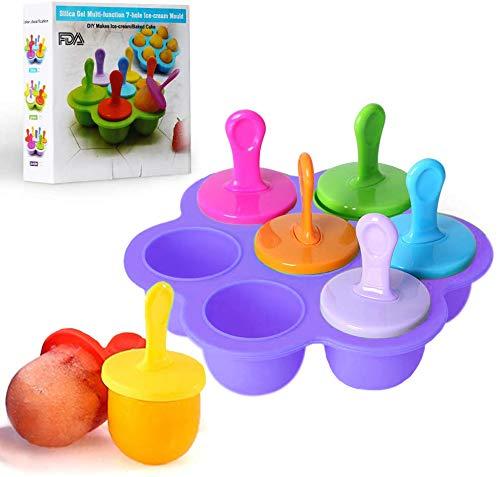 Mini-Silikonform für Eis am Stiel, 7 Mulden, DIY-Eiswürfelform mit bunten Kunststoffstäbchen, Lutscher- und Eiscreme-Form, Babynahrungsbehälter, antihaftbeschichtete Eiswürfelschalen (lila)