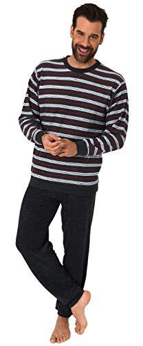 Eleganter Herren Frottee Pyjama Schlafanzug lang mit Bündchen - auch in Übergrössen 61505, Farbe:schwarz, Größe2:58