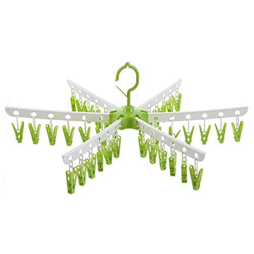 QAZX Perchas multifuncionales para bebés, perchas para ropa, ropa interior, resistente al viento, para secar calcetines para niños, bandeja de secado XNC, tendedero de ropa (color: verde)