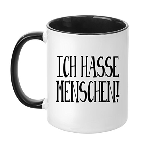 TassenTicker® - ''Ich Hasse Menschen.'' - Geschenk Tasse - hochwertige Qualität - Kaffee - Arbeit (Schwarz)