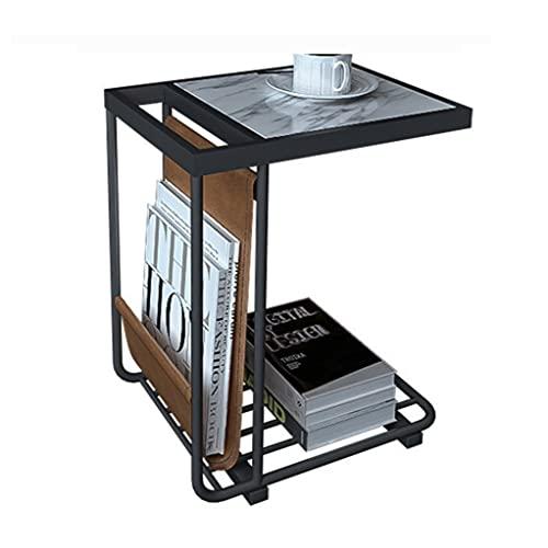 CA Table C Tabla para EL Sofa C Mesa Final Mesa Revista Rack C Tablas Laterales para Espacios Pequeños Tablas Laterales Sala De Estar (Color : White Black, Size : 45 * 33 * 65cm)