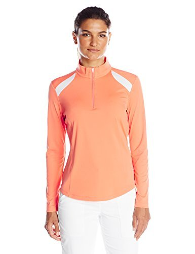 Greg Norman Collection Women's Zip Pieced Polo Shirt, Nectarine, 3X-Large