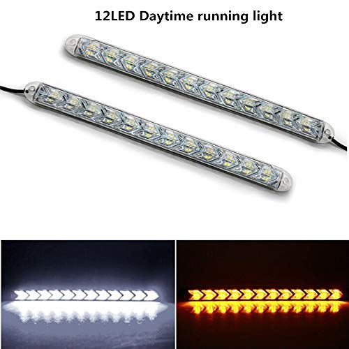 XuBa 2pcs Voiture DRL Switchback LED lumière de Bande Phare Arrowhead Clignotant Clignotant Lampe étanche