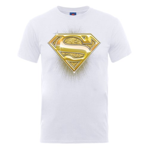 Dc comics DC0001516 Official Superman Bling Logo T-Shirt, Blanc, L Homme