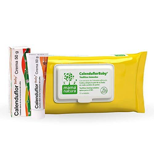CalenduflorBaby Pomada Reparadora, Calma las Irritaciones de la Piel del Bebé + Toallitas húmedas Bebé Mama Natura, Biodegradables con Extracto Calendula