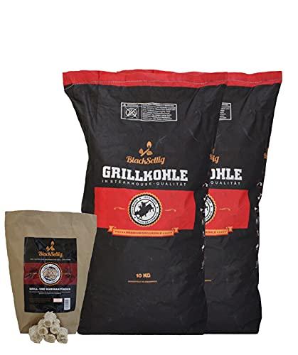 BlackSellig 20 Kg Steakhousekohle + NEU mit 50 STÜCK natürliche Anzünder reines Quebracho Holz- perfekte Restaurantqualität