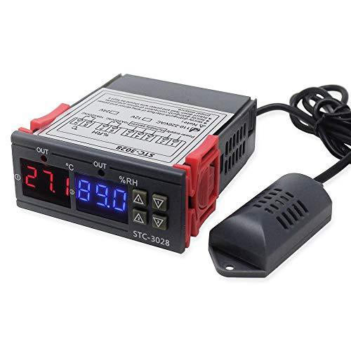 KETOTEK Temperatuurregelaar Vochtigheidsregelaar Temperatuur Vochtigheid Schakelaar 220V 2 relais Automatisch Koeling Verwarming Controle Luchtontvochtiger Luchtbevochtigerregelaar met sonde