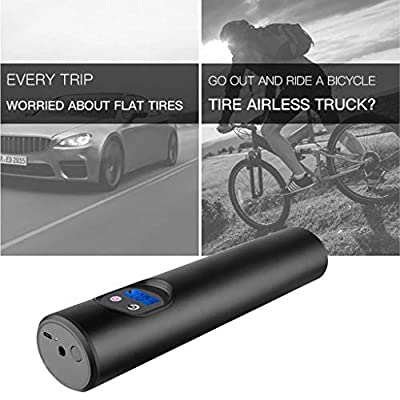 Flurries ???? 150PSI Wireless Electric Car Bike Tire Inflator - Smart Air Pressure Pump - Mini Air Compressor - Sports Inflation Device Cicycle Basketball Balloon - USB Rechargeable LCD Display (Black)