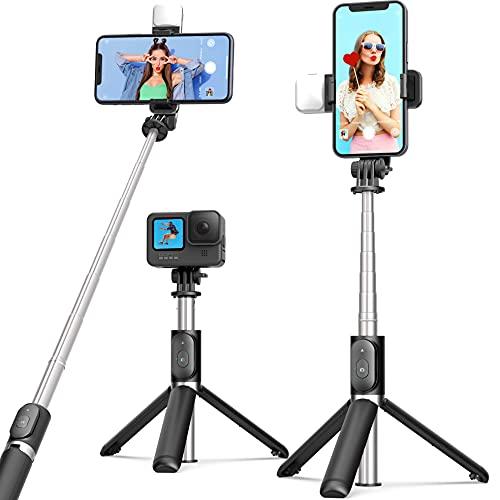 ARTOFUL Bastone Selfie Treppiede con Luci Treppiede Smartphone con Telecomando Wireless Rotazione a 360°Treppiedi Stabile per 4.7-6.7 Pollici Smartphone