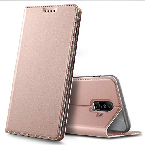 Verco Funda para Samsung Galaxy A6 Plus PU Cuero Flip Folio Carcasa Soporte Plegable Ranuras para Tarjetas para teléfono móvil Galaxy A6 [+] Cubierta, Rosa
