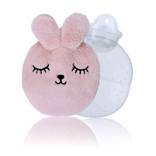 Sinwind Wärmflasche, Wärmflasche Kinder, Wärmflaschen, Wärmeflasche mit kuschelweichem, für den Hand Fuß Körper Warmhalten Schnelle Schmerzlinderung (Rosa)