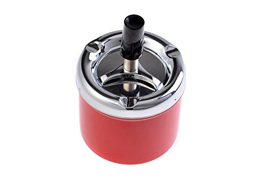 The Khan Outdoor & Lifestyle Company Quantum Abacus Runder Windaschenbecher/Drehaschenbecher aus Zinklegierung, poliertes Metall/rot, 7,5cm Durchmesser, Mod. 4543-03 (DE)