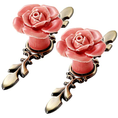 SCTD Rose Ceramic Flower Cabinet Knobs with Green Bronze Backplate, Vintage Kitchen Drawer Pull Handles for Dresser Cupboard Wardrobe with 3 Size Mounting Screws, 4 Pack (Pink)