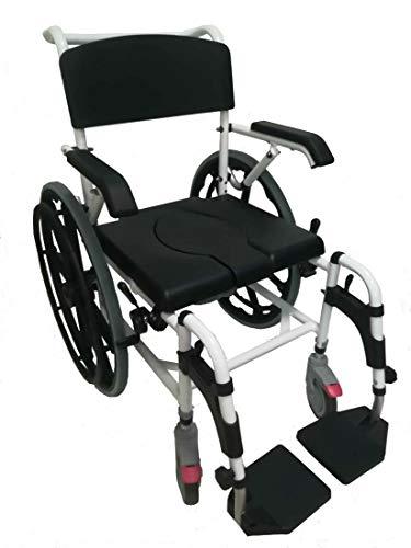 FabaCare Dusch- Toilettenrollstuhl Atlantic, 24 Zoll Räder, bis 136 kg, Premium Toilettenstuhl, Duschstuhl fahrbar, Rollstuhl mit WC Eimer