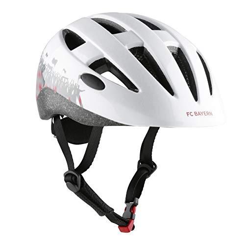 FCB Helm | Kinder-Fahrradhelm | Helm | weiß | Größe M | 53-58 cm