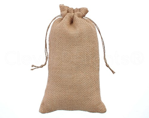 "CleverDelights 6"" x 10"" Burlap Bags with Natural Jute Drawstring - 25 Pack - Burlap Pouch Sack Favor Bag for Showers Weddings Parties and Receptions - 6x10 inch"