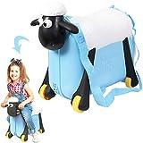 ひつじのショーン 乗って遊べる 子ども スーツケース ブルー shaun the sheep