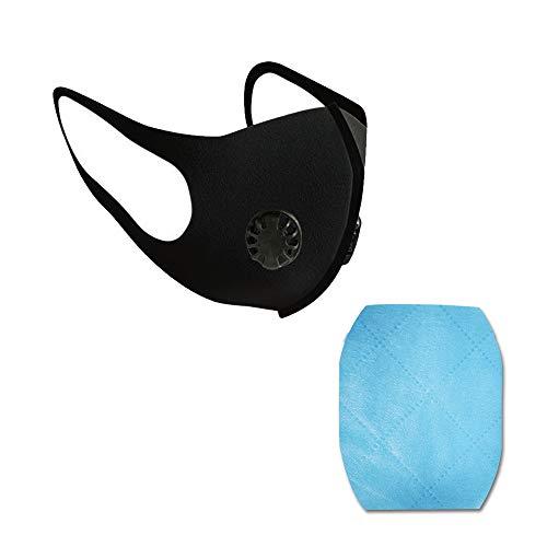 QINQIN Respirator monddeksel Met Ademhalingsklep Anti-Dust Anti PM2.5 Vervuiling Gezicht Mond Respirator Zwart Wasbaar Katoen gezichtsschild (zwart), dubbele klep+vierkant kussen