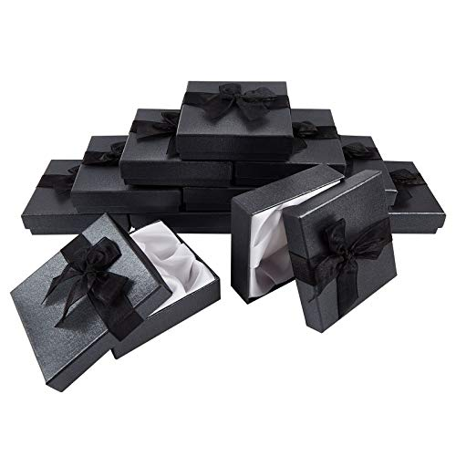 NBEADS 12 Caja de Pulsera Negra, Joyero de Cartón con Cinta de Encaje para Presentación de Embalaje de Regalo, 9x9x2.7 cm