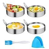 4 Stück Spiegeleiformen, Edelstahl Ei Ringe Omelettform, Pancake Form für Spiegelei, Pfannkuchen, Omeletts