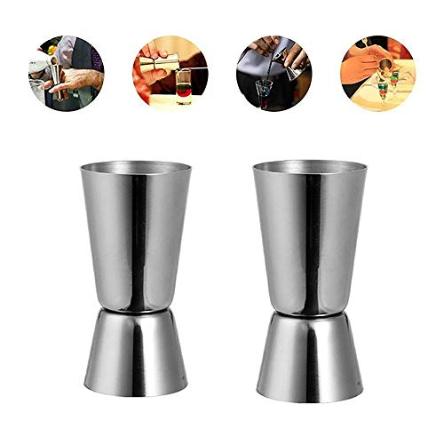 GZQ 2 Pcs Cocktail Jigger Stainless Steel Multifunction Kitchen Dual Spirit Measuring Cups Liquor Cocktail Mixer Cups for Bar Home Bartender Party Wine Drink 25 ML / 50 ML