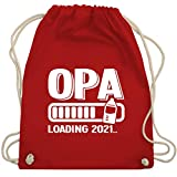 Shirtracer Opa Geschenke - Opa loading 2021 mit Babyflasche - weiß - Unisize - Rot - WM110 - WM110 - Turnbeutel und Stoffbeutel aus Baumwolle