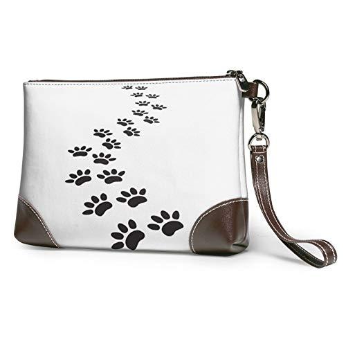 MGBWAPS Huellas de la pata del perro embrague, bolso del embrague del cuero, bolso cosmético, bolso...