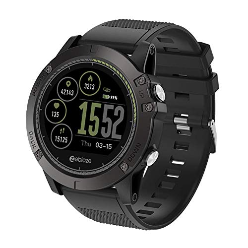Zeblaze Smartwatch, Smart Watch Compatibile Android 4.4 IOS 8.0 Bluetooth Fitness 3 HR Rugged Inside Out Monitoraggio Delle Risorse Umane UI 3D All-Day Activity Record 1.22 'IPS Smart Watch Per Uomo