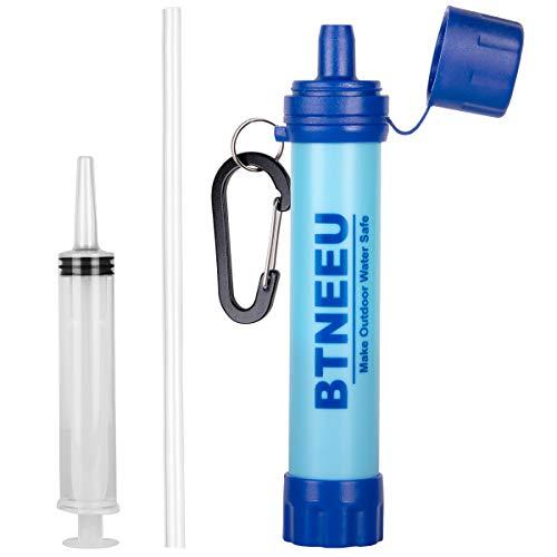 BTNEEU Filtro de Agua Portatil 1500L Filtro Agua Personal 0.01 Micron, Elimina 99.99% de Bacterias y Protozoos, Purificador de Agua Emergencia para Campamento Acampada Montaña y Supervivencia