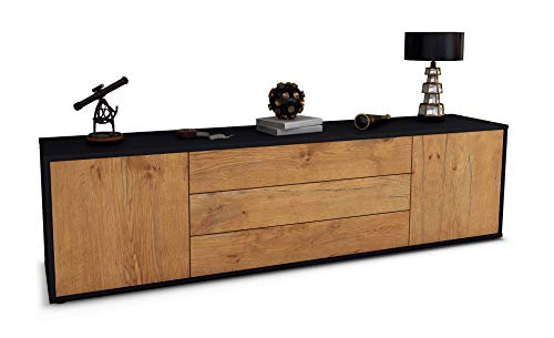 Stil.Zeit TV Schrank Lowboard Ludwig, Korpus in anthrazit matt/Front im Holz-Design Eiche (180x49x35cm), mit Push-to-Open Technik und hochwertigen Leichtlaufschienen, Made in Germany