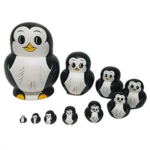 RAILONCH Pinguin Matroschka Form Russische Puppe Geschenk Cartoon Holzspielzeug Handwerk Geschenk Tier Puppen