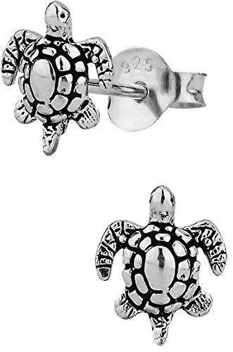 Hypoallergenic Sterling Silver Tiny Sea Turtle Stud Earrings for Kids (Nickel Free)