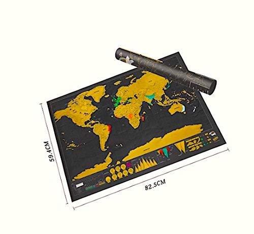 World Map Deluxe XXL en negro dorado para rascar 83 x 59 cm Mapa del mundo Scratch Póster en inglés