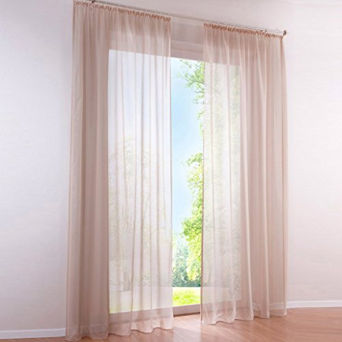 HongYa Pack de 1 cortina transparente de gasa con cinta fruncida, 175 x 145 cm, color arena