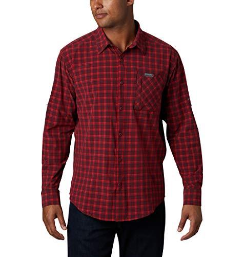 Columbia Triple Canyon Camiseta de manga larga para hombre, Rojo (Red Jasper Mini Tonal Plaid), S